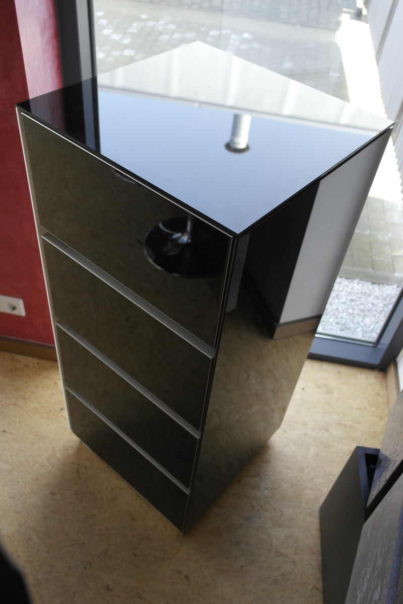 Design Sektretär Echtglas Black
