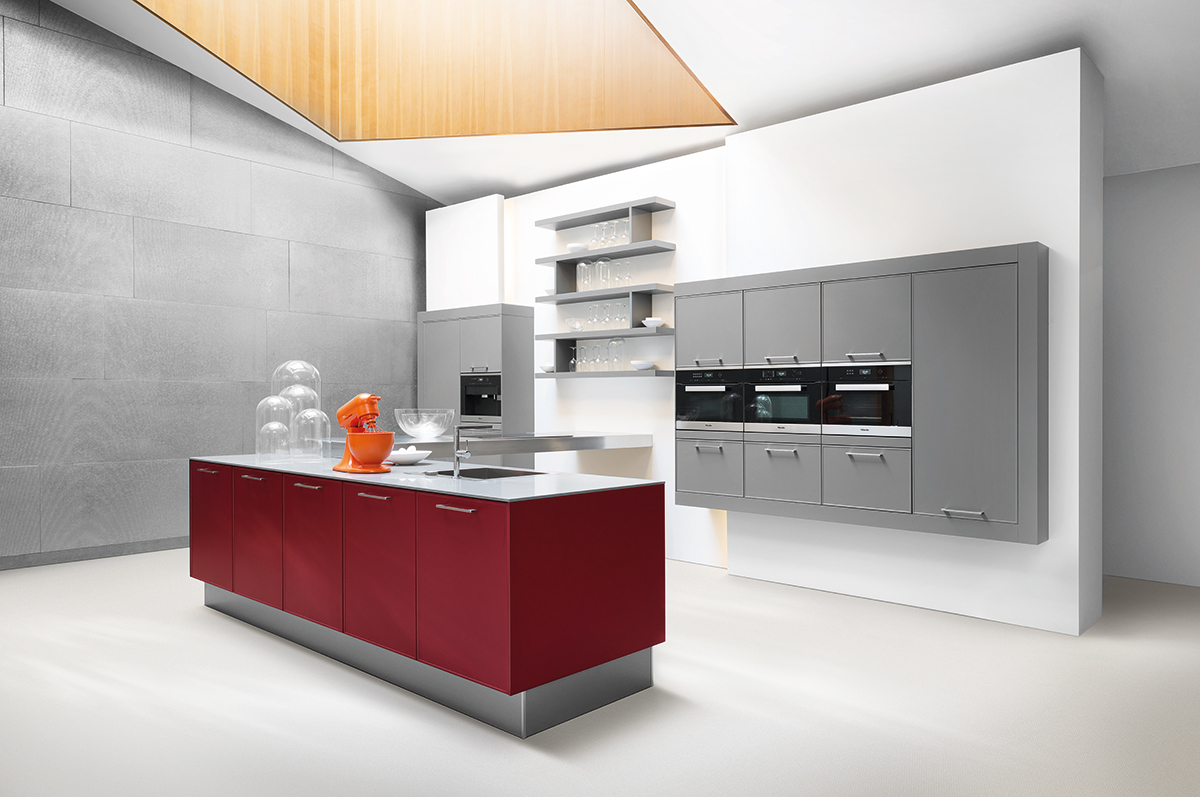 Design Küche weinrot
